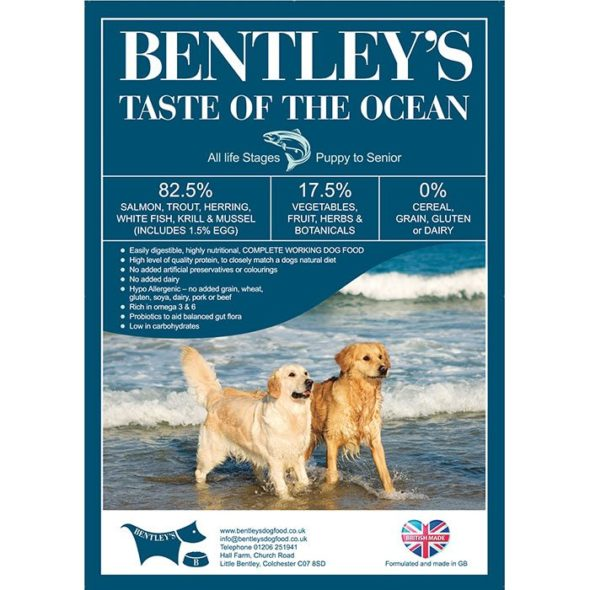 Bentley's TOTO Fish Dog Food Label